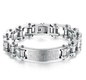 Bible Cross ID Bracelet Stainless Steel Motorcycle chain Wristband Unisex Mens