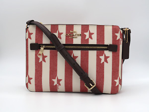 COACH Gallery File Bag with Stars and Stripes Chalk / Red, Crossbody Purse 2863