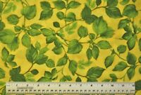 By the 1/2 yard 100% cotton fabric Rosa by Chong-A-Hwang green leaves on yellow