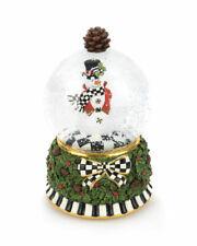 Mackenzie Childs Musical Snowman Snow Globe - New in Box