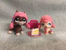 Littlest Pet Shop Lps #1519 & #1520 Brown Great Dane Pink Poodle w/ Accessories