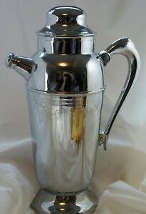 Chrome Metal Handled Cocktail Drink Mixer Shaker Pitcher Silver Tone Vintage