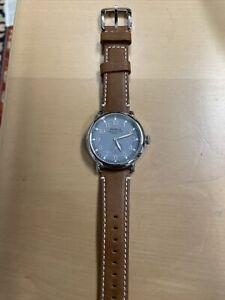NEW Shinola Slate Blue Runwell with Brown Leather Band 41mm 10000024