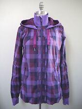 NEW LULULEMON purple burgundy check Track and Field Jacket Hoodie size 8