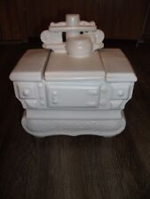 Vintage McCoy White Wood Coal Stove Cookie Jar FREE SHIPPING