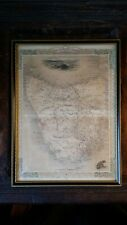 1851 ORIGINAL ANTIQUE FRAMED MAP VAN DIEMEN'S ISLAND TASMANIA - TALLIS / RAPKIN