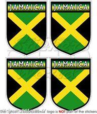 "JAMAICA Jamaican Carribean Rasta Shield 50mm(2"") Vinyl Bumper Stickers-Decals x4"