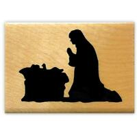 Mary & Jesus Nativity Silhouette mounted rubber stamp, religious Christmas #13