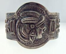 """Vintage Mexico City J Vigueras Bracelet 1930s 925 Silver  2.5"""" Repousse BS139"""