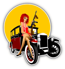 "Girl Tommy Gun Cartoon Car Bumper Sticker Decal 4"" x 5"""