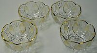 MOSER BOHEMIAN CUT GLASS DESSERT BOWLS W/ GOLD RIMS (4) * *