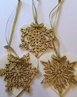 3 X Handmade Snowflake Christmas Decorations Shabby Chic Wood Heart Gold