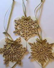 3 X Handmade Snowflake Christmas Decorations Shabby Chic Wood Heart Gold