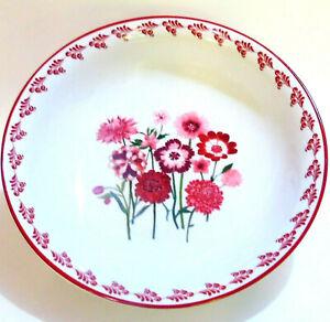 """WS AERIN SERVING BOWL 11"""" Swiss Alpine Red Pink Posy Poppy Dahlia Flowers"""