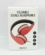 Vivitar Headphones Foldable Stereo Coral Travel Factory sealed new