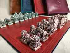 Mongolian Chess Set Ivory like chess peace Leather Board and Bag 26cm x 26cm