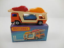 Matchbox Superfast 11 Car Transporter Orange Mustard Car Mint in K Box MIB
