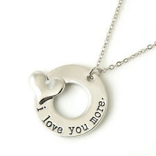 Silver I Love You More Necklace Pendant Ladies unusual Gift For Her Mum Sister