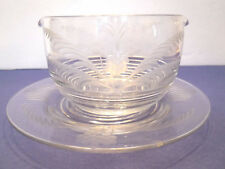 Vtg Crystal Clear Etched Glass Bowl & Saucer Flowers & Leaf Design