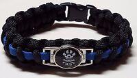 K9 Paw with Skull & Cross Bones Thin Blue Line Police Dog TBL Paracord Bracelet