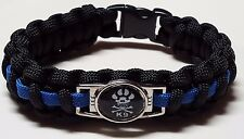 K9 Paw with Skull & Cross Bones Thin Blue Line Police Dog TBL Paracord Bracelet