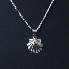 "New Scallop Sea Shell  Pendant 925 Sterling Silver 16"" - 24"" Chain Necklace"