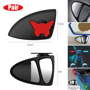 Pair Universal 2PCS Wide Angle Convex Car Rear Side View Blind Spot Mirror 360°