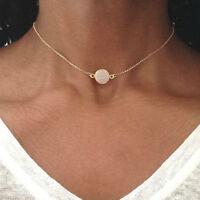 Women Simple Opal Stone Choker Necklace Pendant Chain Charm Jewelry Gift US
