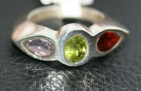 Sterling Silver 2.4 CT Three Stone Peridot Garnet Amethyst Women's Ring Sz 6.75