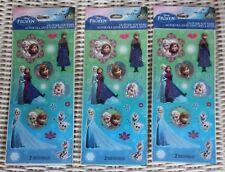 Lot of 3 Pkg Disney Frozen Olaf Elsa Anna Sisters Glitter Stickers, 2 Sheets ea.