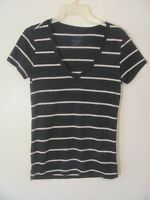 Wet Seal Women's Shirt Top Size Medium M Black Striped Short Sleeve V-Neckline