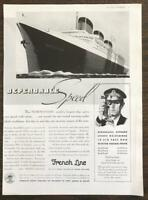 1937 French Line Oceanliner Ad Normandie and Captain w Sextant Illustrations