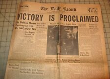 """THE DAILY RECORD Long Branch, NJ """"VICTORY IS PROCLAMED"""" 5/8/45 Newspaper Section"""