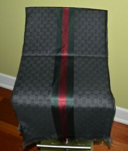 """GUCCI SCARF GG GUCCISSIMA WOOL/SILK  70""""X15"""" X-LARGE BLACK/GRAY 2015 COLLECTION"""