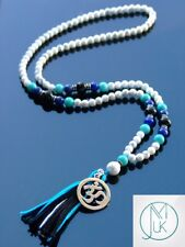 Howlite/Lapis Natural Gemstone Mala Necklace Prayer Healing Mala 108 Beads