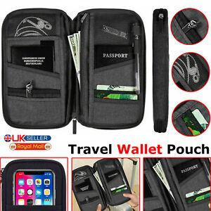 Travel Wallet Passport Holder RFID Document Organiser Cards IDS Money Pouch bag