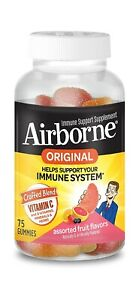 Airborne Immune Support Supplement 750mm Vitamin C, Original 75 Gummies