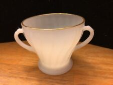 Vintage Anchor Hocking/Fire King Milk Glass Swirl Gold Open Rim Sugar Bowl