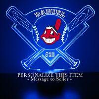 Cleveland Indians Night Light Personalized FREE Light Up MLB Baseball LED Light