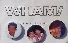 GEORGE MICHAEL Wham ! Final BADGE Pack 3 x ORIGINAL Official Tour Merchandise 86
