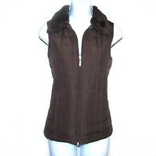 Jane Ashley Women's Puffer Vest Sz Petite Medium Brown Faux Fur Collar Zip Front