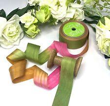 32mm 100/% Silk Ribbon Green Pink Gold Wedding Floral Lightweight Floral Tiara
