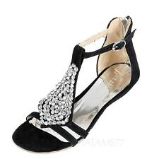 Shoes Party Strappy Wedges HEELS Flats Sandals UK Sz 0 1 2 3 4 5 6 7 8 9 Black UK 9 ( Size Tag CN 45)