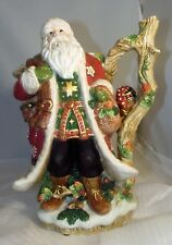 Fitz & Floyd Christmas Lodge Santa Claus Pitcher Owl Basket Apples MINT!