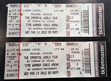 Michael Jackson MJ IMMORTAL World Tour Tickets (2) Untorn 2012 Cirque Du Soleil