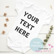 Your Text Here Personalised Baby Vest Grow Clothes Bodysuit Custom Girl Boy Gift