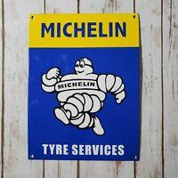 "VINTAGE MICHELIN MAN TYRE SERVICES METAL PORCELAIN TIRES BIBENDUM 12"" GAS SIGN!!"