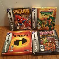 Lot of 4 Nintendo Gameboy Advance Box Only TMNT Spiderman Scooby-doo Incredibles