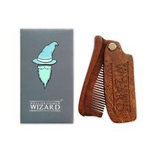 Beard Comb, Folding Wooden Beard Grooming Comb by Well Groomed Wizard