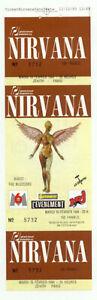 Nirvana ticket / billet  concert Paris 15 fevrier 1994 rare